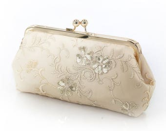 Champagne Bridal Clutch with embroidery and gold / beige sequins 8-inches | Ready to Ship