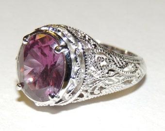 Sterling Silver Filigree Purple Color Change Stone Ring sz 7