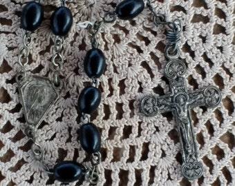 Black Prayer Beads Catholic Rosary with metal Crucifix 16 inch Religious Rosary Prayer Beads