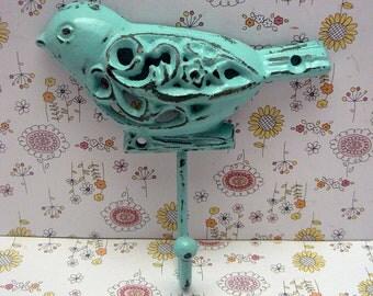 Bird Cast Iron Wall Hook Blue Shabby Chic Nursery Spring Summer Wall Decor