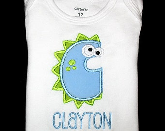 Custom Personalized Applique DINOSAUR ALPHABET and NAME Bodysuit or Shirt - Lt Blue and Lime Green