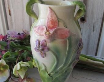 Lady Slipper and Violet  Earthenware Vase