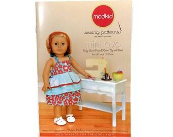 "Modkid Sewing Pattern / Mini Ava / Doll Clothes Pattern / Doll Sized Pleated Halter Top / Doll Skirt / Fits 18"" & 15"" Dolls / Uncut Pattern"
