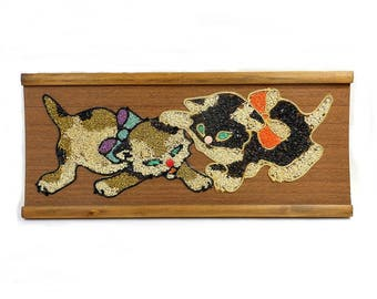 Vintage Cat Kitten Mosaic / Mid Century Art Panel Wall Hanging / Black Gold White Stones / Cat Lover Home Decor