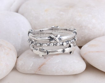 Hope Faith Believe Sterling Silver Cross Stacked Ring. Perfect Gift Ring Set. Best Friends Rings