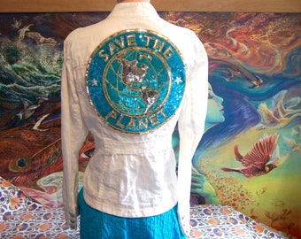 White Linen Jacket, SAVE the PLANET, Eco, Up-Cycle, Summer Jacket, size L