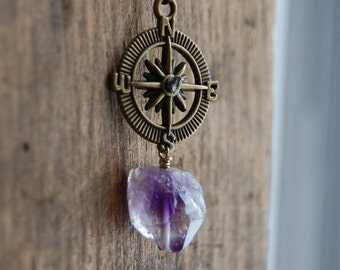 Never Lost. Antique Brass Compass Pendant Necklace with Raw Amethyst Stone Nugget and Pryrite detail.