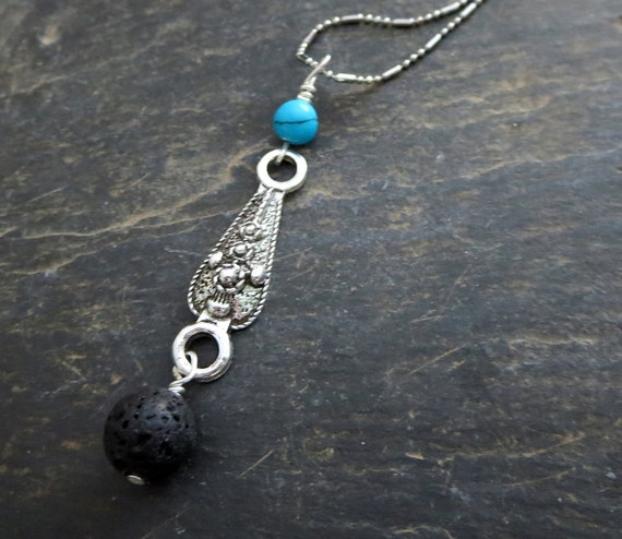 Turquoise Diffuser Jewelry Antique Silver Pendant Lava Stone Long Necklace Aromatherapy Necklace Gift for Her