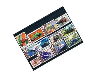 Transport Stamp Stock Card | Planes, trains, trams etc - used vintage world postage stamp selection | upcycled craft supply collage ephemera