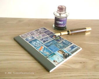Blue Purple A6 Notebook Collaged with Upcycled Vintage Postage Stamps | Lined Kraft 4 x 6 Journal | Mail Art Travel Gift, Philately Gift