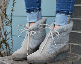 Vintage Fuzzy Gray Ankle Boots Wedge Heel Winter Boots