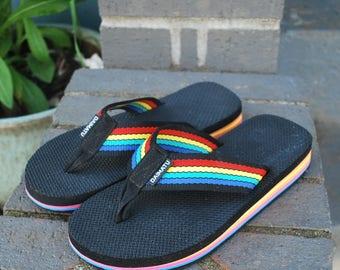 Vintage 80's Rainbow Flip Flops Daimatu