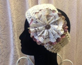 Crocheted Head Wrap with Vintage Flower