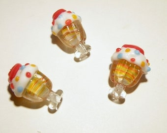 DESTASH - One (1) Ice Cream Sundae with Sprinkles Lampwork Glass Bead - Lot UU