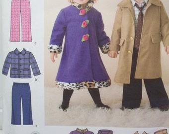 Toddler Coats Sewing Pattern Simplicity 2526 Elastic Waist Pants, Jacket and Hats Unisex Child' Pattern Size 1/4 - 4 UNCUT Destash
