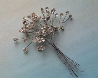 Vintage Rhinestones on Wire Craft Floral Sprays Millinery Picks 12 Stems
