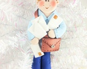Gift for Mailman - Handmade Polymer Clay Mailman Christmas Ornament - Gift for Mail Carrier - Postal Carrier Postman Gift - 143