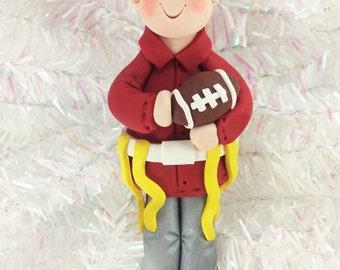 Flag Football Ornament - Gift for Flag Football Player - Football Christmas Ornament - Handmade Polymer Clay - Football Fan Gift - 318