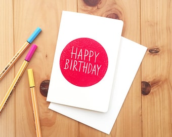happy birthday note card, hand printed and embossed birthday greeting card, cards for friends family work, encouragement card, RED