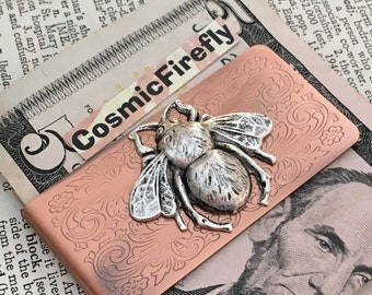 Silver Bee Copper Money Clip Steampunk Money Clip Victorian Money Clip Men's Gifts Father's Day Gifts For Men Bumble Bee Insect Money Clip