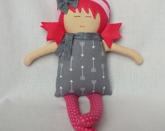 Rag doll, soft foll, cloth doll, handmade doll, baby doll, gift for a girl, pink hair, pink and grey, christmas gift, unique gift, ooak
