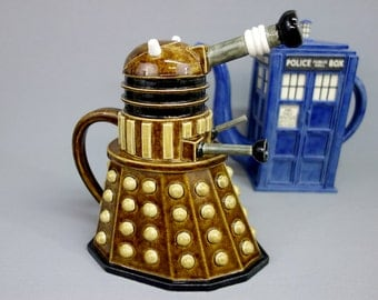 Highly Detailed Dalek Teapot - Handmade Ceramic Sculptural Teapot, Made to Order