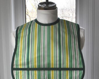 Awning Stripe Extra Small Adult Bib - vinyl covered small adult bib with pocket