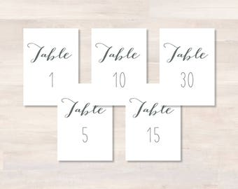 Instant Download Printable Table Numbers 1-30, JAYDEN+LARA, 4x6 Table Numbers, Gray, DIY Wedding Table Card, Wedding Table Cards, Reception
