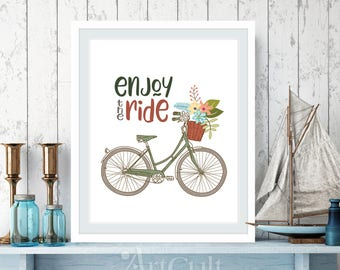 """Printable artwork, Wall Art print, digital download, inspiring quote """"Enjoy the Ride"""" for Home and nursery decoration ArtCult art files"""