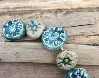 ceramic beads turquoise flower beads Artisan ceramic beads ocean blue beads ceramic blue beads ceramic bead strand clay bead textured beads