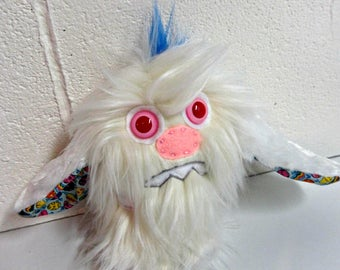 Easter Bunny Plush - Handmade Plush Bunny for Easter - Albino Bunny - Worried Rabbit Plush - Hand Embroidered Rabbit Toy - Easter Bunny Toy