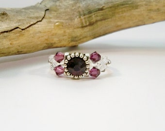 Purple Crystal Stretch Band Ring, Amethyst Cocktail Ring, Women's Ring, Stocker Stuffer, Purple and Silver, Stretch Ring, Cocktail Ring