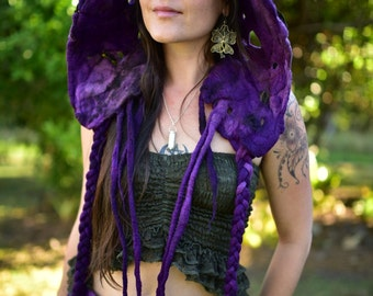 Felt Flower Hat-Woodland Head Wear-Pixie Hood-Bonnet-Fairy Costume-Witches Hat-Festival Wear-Burning Man-Performance Costume OOAK