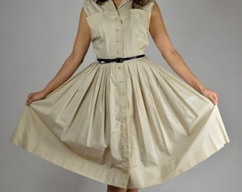 Vintage Dress, 50s Dress, Swing Dress, Tan Dress, Rockabilly Dress, Cotton Dress, Circle Skirt, Sleeveless Dress, Day Dress
