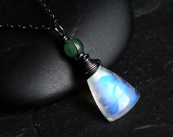Rainbow Moonstone Necklace with Green Aventurine, Oxidized Sterling Silver by CircesHouse on Etsy - Woodmoon