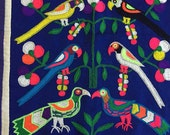 Vintage Bird Hand Embroidered Fabric | Cotton | Handwork | Tribal Folk Art | Textiles Ready to Frame | Bright Colors Orange Green Pink Blue