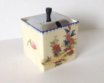 Vintage Coronet Ware Square Preserve Pot Sugar Bowl Parrott Burslem