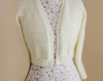 Goat Angora knit v-neck No buttons LONG sleeves crop/ bridal bolero/ Cover up Bridal shrug / Made to order