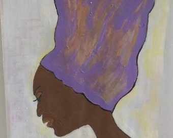 black african woman art ,black woman painting, headcovering, purple