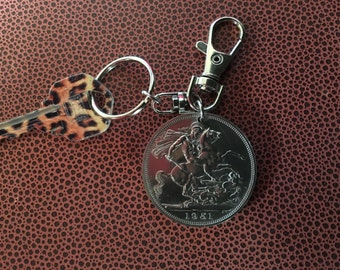 United Kingdom Saint George and The Dragon 1951 Five Shilling Proof Coin Keychain