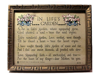 """Motto Print, In Life's Garden, 1913 Framed Print, Mother Poetry, Mother's Day Gift, 4-1/2"""" x 5-3/4"""", Vollard and Company, Tiny Wallhanging"""