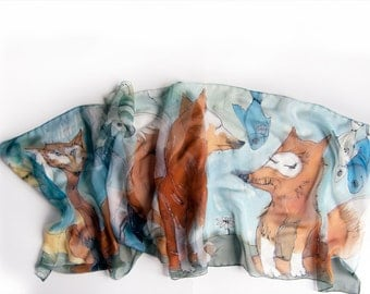 Hand painted scarf- Foxes dream, Silk chiffon scarf painted/ Blue ochre transitional scarf, Fox scarf, animal scarf, Unique handmade scarf
