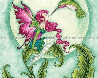 5x7 Flirting fairy and hummingbird PRINT by Amy Brown