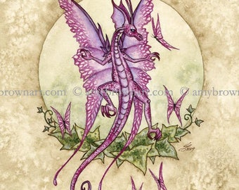 5x7 Dancing Dragon and butterflies PRINT by Amy Brown