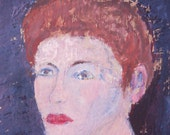 Vintage Portrait Painting of a Woman / Outsider Art / 12 x 18 / Acrylic on Found Paper