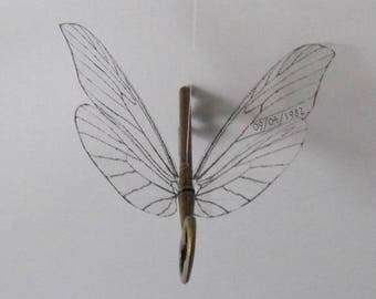 Custom version of 'flying' magical key with large butterfly wings in antique brass - CASBF