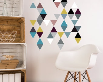 45 Modern Art Triangle Wall Decals, Removable and Reusable Eco-friendly Wall Stickers - Color-way 2