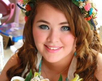 Bridal Flower crown orange turquoise tropical destination wedding elopement foliage -Jasmine- hair wreath greenery Headdress accessories