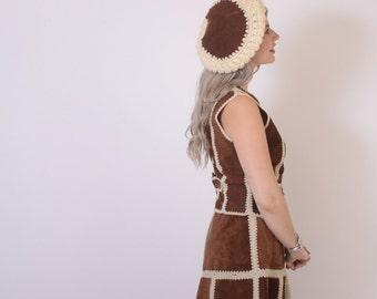 Vintage 70s SUEDE BERET / 1970s Golden Brown Leather & Ivory Knit Hat