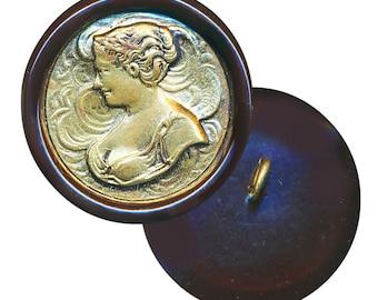 Button--Vintage Art Nouveau Buxom Lady of Brass in Celluloid--Medium